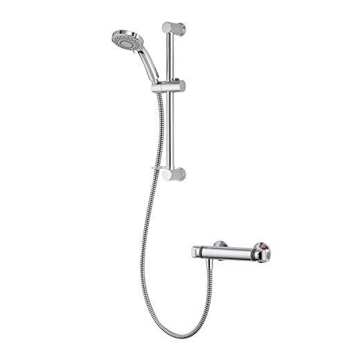 Gainsborough Bar Mixer Shower Adjustable 3 Spray Head Chrome 1.25m Hose GT250