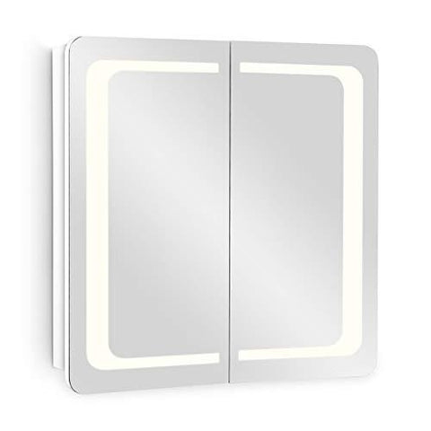 Galdem® ROUND60 / 60 CM Bathroom Cabinet with 2 Doors/LED Lighting/Soft Close Function/Plug Socket/Also Suitable for Hallway