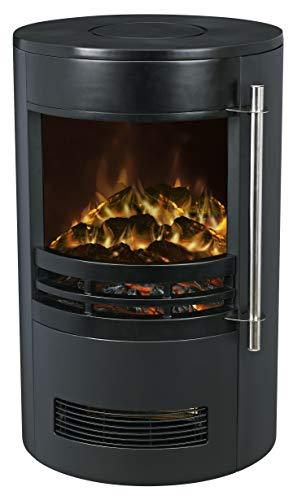 "Galleon Fires -""Eris"" Electric Stove with 3D Exclusive LED Log Effect -LED Realistic Flame - Round Modern Stove - Portable - Fireplace - with Real Log Flame Effect - Electric Stove Fan Heater - Black"