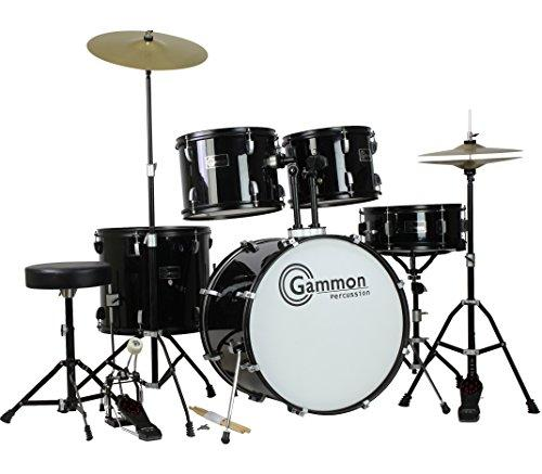 Gammon Full Size Adult 5 Piece Drum Set with Cymbals, Black