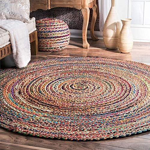 GANESHAM Indian Handmade Hand Braided Bohemian Reversible Colorful Cotton Round Mat Chindi Jute Bath Rug (72 inch)