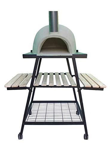 Gardeco PIZZARO AFC-PO1.00 Traditional Wood Fired Chimalin AFC Pizza Oven & Trolley Stand. Includes Funnel & Tigerbox Matches