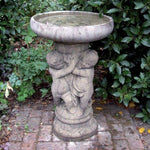 Garden Bird Bath - Three Angel Cherub Stone Birdbath Feeder