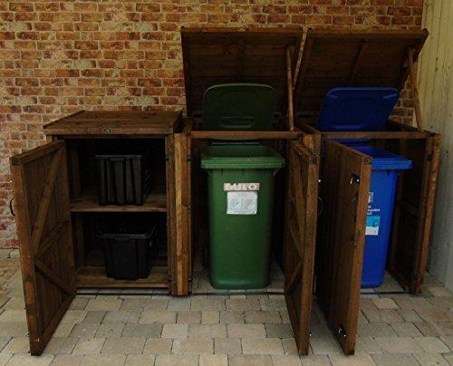 Garden Double/Triple Wooden Recycling Wheelie Dust Bin Hide Storage Cupboard Shelter (2 Bins + 2 Recycling Boxes, Brown)