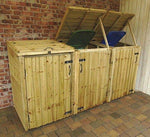 Garden Double/Triple Wooden Recycling Wheelie Dust Bin Hide Storage Cupboard Shelter (3 Bins, Natural)