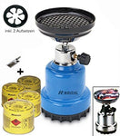 Gas Camping Stove Shisha Coal Lighter Barbecue Lighter + 4x Gas Cartridges + Lighter