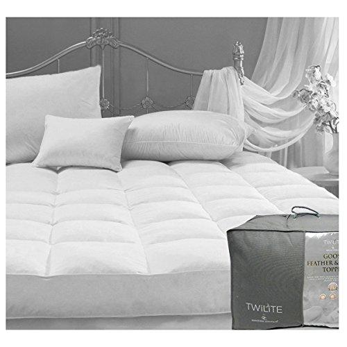 Gaveno Cavailia Comforting & Luxurious Premium White Goose Feather Down Mattress Topper, Single, Cotton