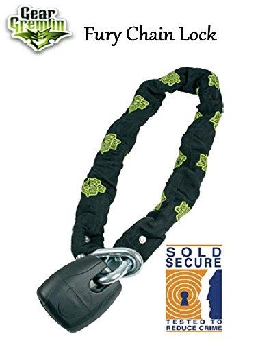 GEAR GREMLIN FURY SOLD SECURE CHAIN LOCK 1.8m Motorbike Scooter Security Anti-Theft Safety Steel Chain Lock