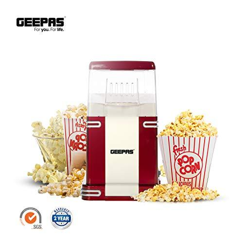 Geepas 1200W Electric Popcorn Maker | Makes Hot, Fresh, Healthy and Fat-Free Theater Style Popcorn Anytime | On/Off Switch, Attractive Design & Oil-Free Popcorn Popper - 2 Years Warranty