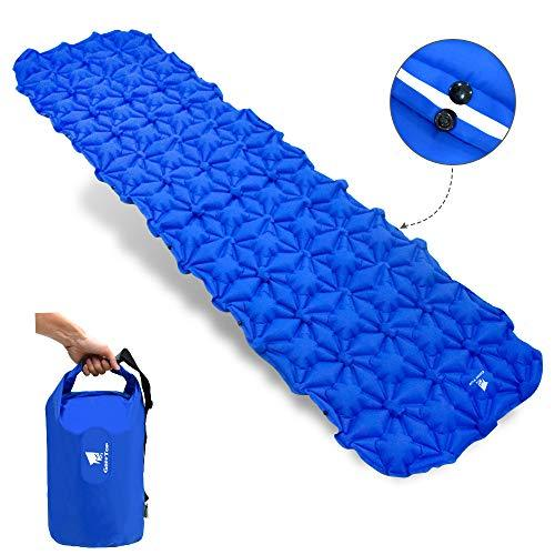 GEERTOP Ultralight Inflatable Sleeping Pad Foldable Outdoor Camping Tent Mattress Pad with Inflating Pillow Comfortable Long Backpacking Air Sleep Mat for Backpacker Travel Hiking Hunting Camp
