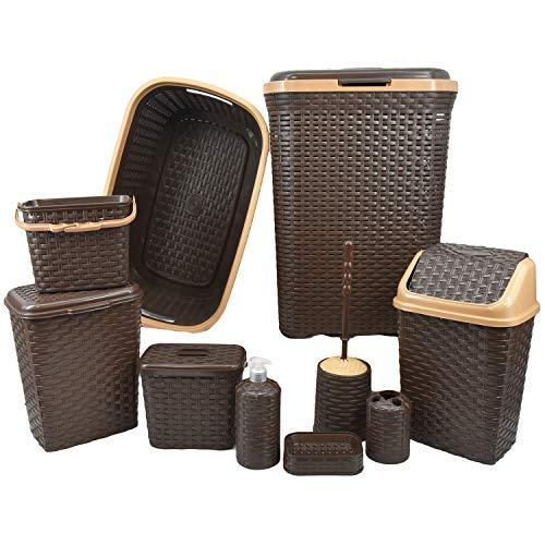 GEEZY 10 Pieces Plastic Rattan Bathroom/Kitchen Home Furniture Set Bath Toiletries Storage Rack Organizer (Brown)