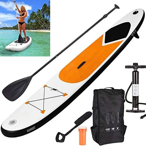 GEEZY Inflatable 320 SUP Surf Board with Adjustable Paddle, Ankle Strap, Pump & Carry Bag Water Sport Paddleboarding (Orange)