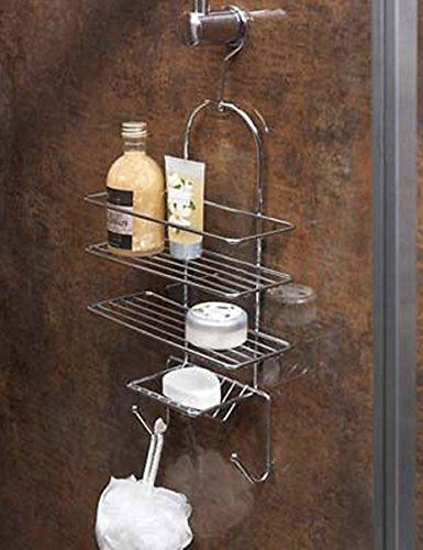 Generic CHROME TRIPLE SHOWER CADDY SHELF BASKET BATHROOM SHOWER TIDY ORGANISER + HOOK <1&2781*1>