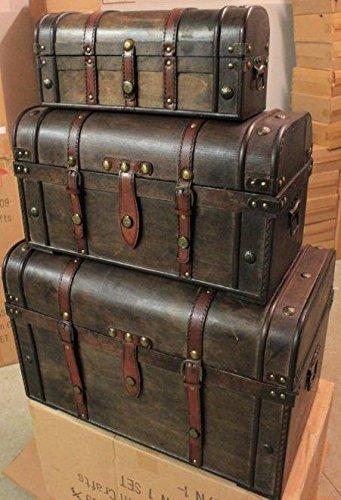 Generic E BOX TRUNKRAGE GIF PIRATE BOX WOODEN TREASURE CHEST TRUNK STORAGE GIFT WOODEN TREASURE CHEST STO