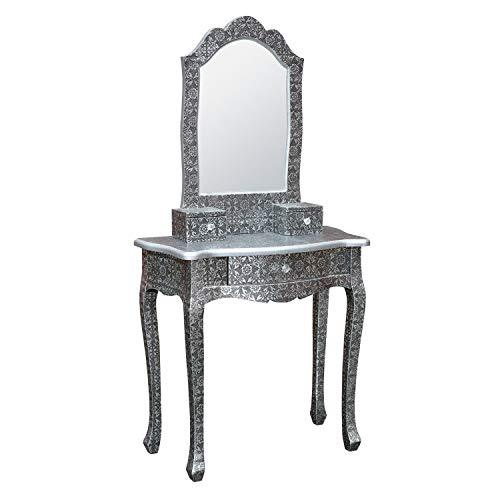 Generic om Furnitureal Embossed Dres Table with Blackened Silver Metal Mirror Bedroom Embossed Dressing Furniture Blackened Silve
