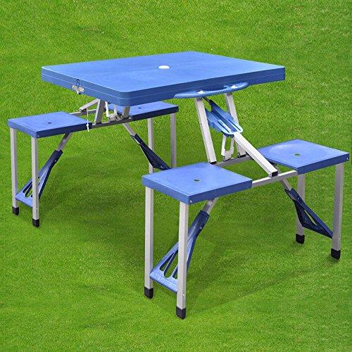 Generic * TABLE FOLDI WITH CHAIRS PORTABL PICNIC TABLE NEW PORTABLE FO NEW PORTABLE FOLDING E WITH CH OUTDOOR GARDEN SET DEN SET BBQ CAMPING OR GARDEN SET