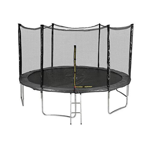 Générique Outsidefun TUV Outdoor Garden Trampoline with Net, Diameter 13 feet 400 cm – 6 Perches – Choice of Colours, Black