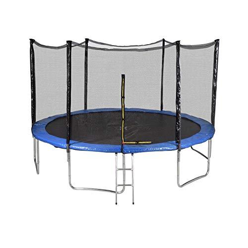Générique Outsidefun TUV Outdoor Garden Trampoline with Net, Diameter 13 feet 400 cm – 6 Perches – Choice of Colours, blue
