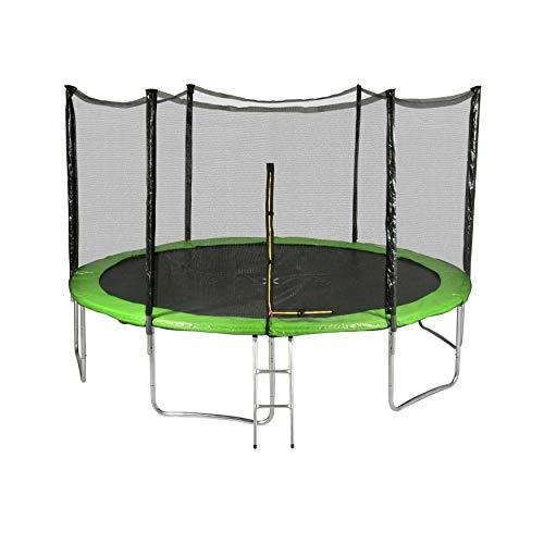 Générique Outsidefun TUV Outdoor Garden Trampoline with Net, Diameter 13 feet 400 cm – 6 Perches – Choice of Colours, green