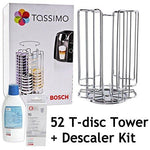 Genuine Bosch Tassimo 52 Rotating T-Disc Capsule Holder Tower + Bosch Coffee Machine Descaler Liquid + Tablets (52 Pod Tower Dispenser + Descaling Kit)
