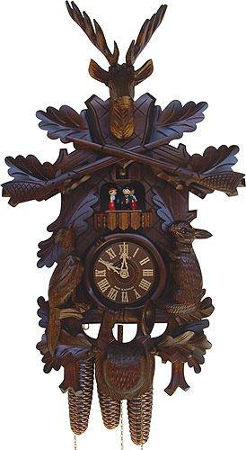 German Cuckoo Clock 8-day-movement Carved-Style 19 inch - Authentic black forest cuckoo clock by Anton Schneider