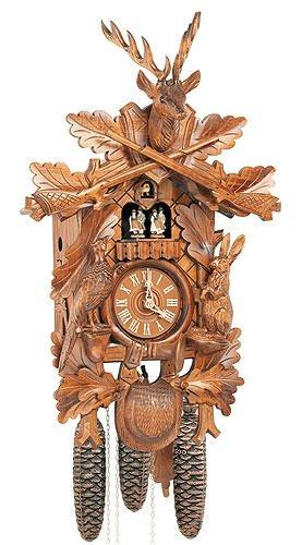 German Cuckoo Clock 8-day-movement Carved-Style 23 inch - Authentic black forest cuckoo clock by Anton Schneider
