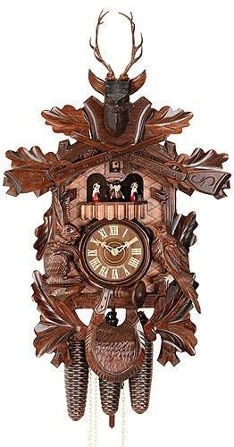 German Cuckoo Clock 8-day-movement Carved-Style 23 inch - Authentic black forest cuckoo clock by Hekas