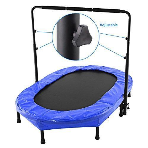 Gfone Parent-Child Mini Trampoline Twin Trampoline with Safety Pad Adjustable Handlebar Durable Toddler Trampoline Exercise Indoor, Garden, Outdoor, Sporting Bouncer