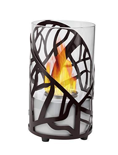 GiftLLC Indoor Modern Ventless Table Top Ethanol Fireplace with Glass Cover and Black Contemporary Pattern Decor