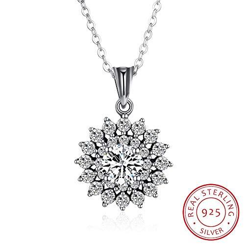Girl's Jewelry Necklace HOME S925 sterling silver necklace female Europe and America retro snowflake diamond pendant necklace clavicle chain