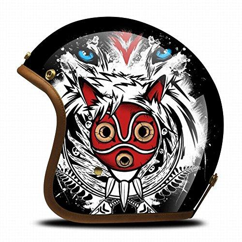 GJJ Harley Retro Anime Creative Half Helmet Motorcyclist Personality Helmet Running Helmet Locomotive Fashion Painted Helmet,Children's day,M