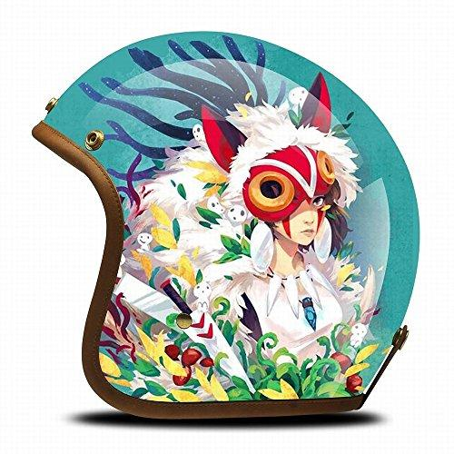 GJJ Harley Retro Anime Creative Half Helmet Motorcyclist Personality Helmet Running Helmet Locomotive Fashion Painted Helmet,Wolf girl,M