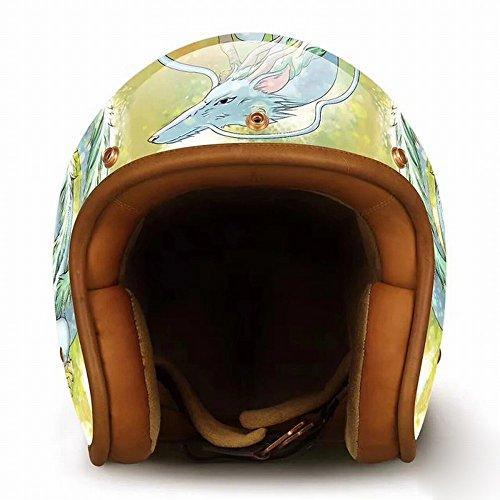 GJJ Harley Retro Personality Creative Hand-Painted Classic Anime Fashion Helmet Locomotive Motorcycle Motorcycle Half Helmet,Picture,XL