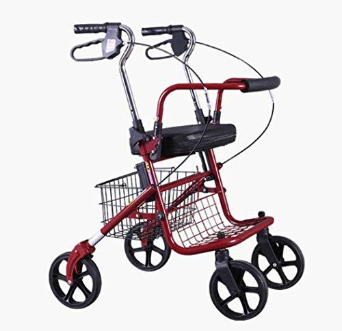 GJX Metal Folding Walking Frame, Walking Walker, Wheeled Walking With Seat And Armrest, Shopping Cart