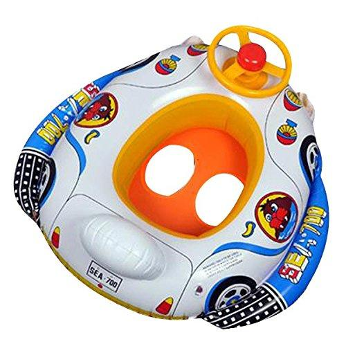 Global Brands Online Kids Baby Inflatable Pool Seat Float Boat Swimming Wheel Horn