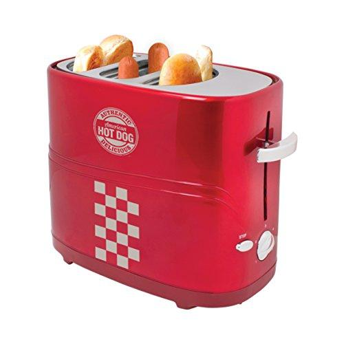 Global Gizmos 52200 Benross Twin Hot Dog Maker Toaster Machine, 700 W, Red