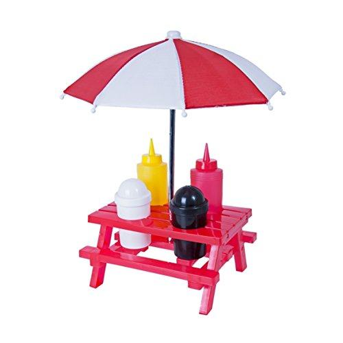 Global Gizmos 56910 Classic BBQ Picnic Condiment Set. Table, Parasol, Salt, Pepper, Ketchup and Mustard, Red, 33 x 13 x 19 cm