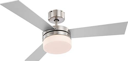 Globo E14 Ceiling Fan with Brushed Chrome Blades, Silver/Beech