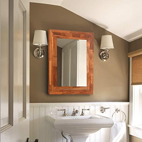 GLS Solid Teak Wall Mount Mirror Frame 23.23x15.35 Inch,31.5x23.62x0.79 Inch Overall Size in The Bedroom,Bathroom,Hallway or Living Room
