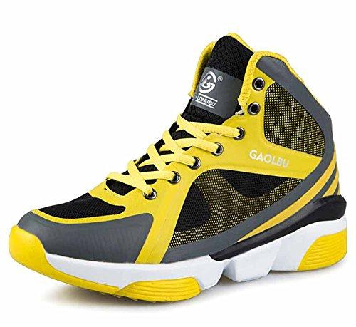 GLSHI Men Breathable Basketball Shoes Autumn High Top Outdoor Sports Shoes Size 36-45 (Color : Yellow, Size : 43)