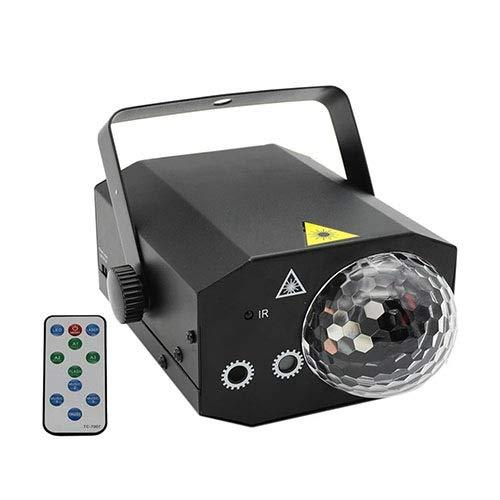GLVG-Magic Ball Light 10W DJ Disco Light Double Hole Light Source Strobe Sound Activate Remote Control DJ Stage Equipment (Color : Black)