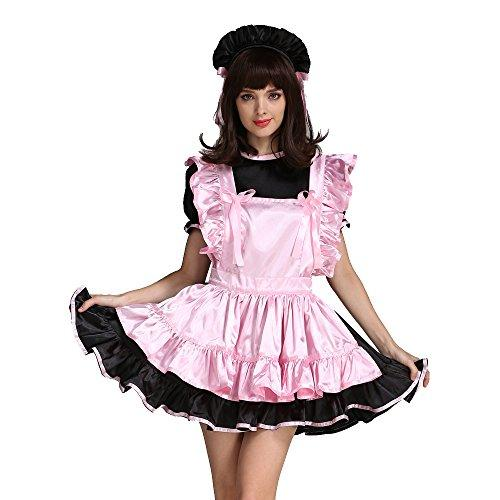 GOceBaby Sissy Girl Maid Pink Black Satin Dress Uniform Costume Crossdressing (XXL)