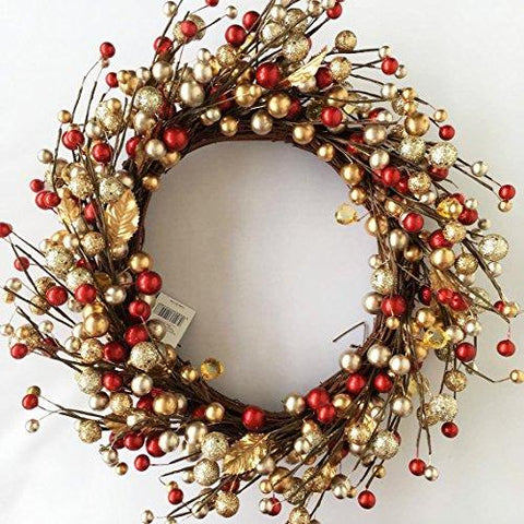 Gold and Red Berry Christmas Wreath Home Decoration