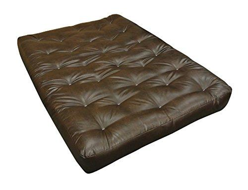 "Gold Bond 0612L0-0107 Double Foam & Cotton 21"" W x 10"" H x 39"" L Loveseat Ottoman Futon Mattress, Leather, Twin, Brown"
