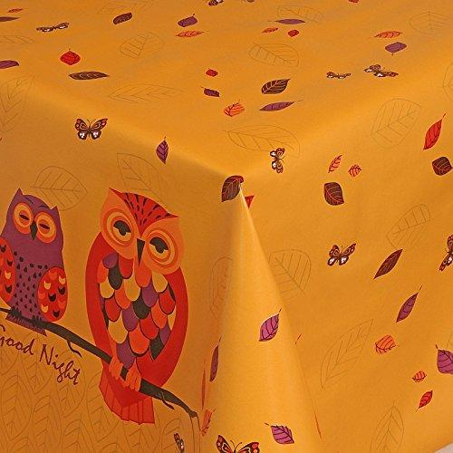 Gold White Wipe Clean Tablecloth Oilcloth Vinyl Pvc Cut to Size Owl Gold 500x140cm