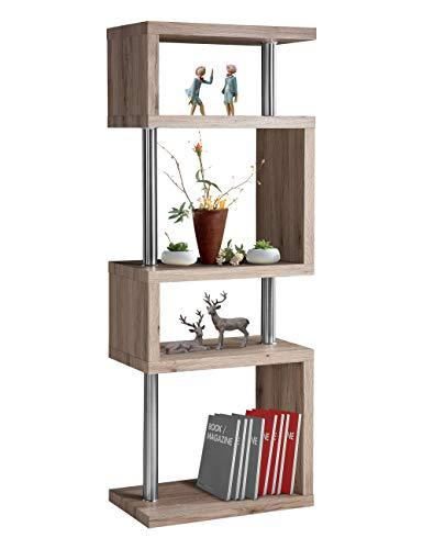 GOLDFAN 4 Tier Wood Bookshelf Shelves S Shape Storage Display Shelving free standing childrens book shelf white living room Home Office 4 Tier Bookcase/kid Bookcase Storage/Open bookshelf