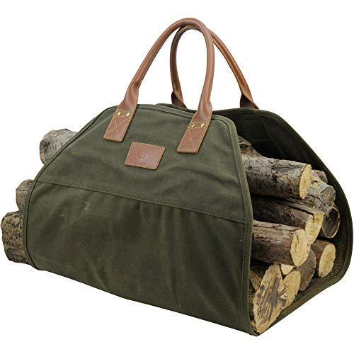 Good Gain 16OZ Waxed Canvas Firewood Carrier Tote Bag with Real Leather Handle Heavy Duty, Water Proof & Dust Proof, Fireplace Accessories (Green)