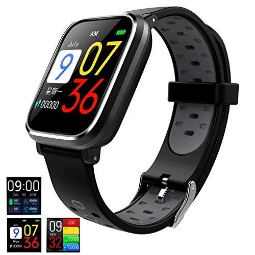 Good voice Fitness Tracker Smartwatch with All-Day Heart Rate, IP67 Waterproof Activity Tracker Watch with Sleep Calorie Counter Pedometer Watch for Kids Women Men (Black/Grey)
