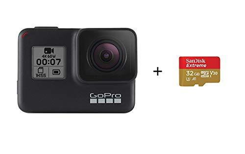 GoPro HERO7 Black with SanDisk 32G Memory Card Waterproof Digital Action Camera with Touch Screen 4K HD Video 12MP Photos Live Streaming Stabilisation