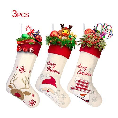 "Gospire 17"" Large Christmas Stockings Set of 3 with Santa, Reindeer, Snowman, Classic Linen Christmas Socks for Decorations Gift/Treat Bags"